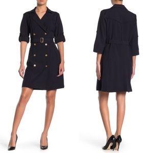 SHARAGANO✨NWT Navy Double Breasted Shirt Dress 16